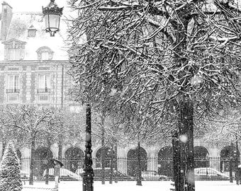 Paris Photography, Place de Vosges, Snowy morning in Paris, winter photography, Paris in the snow, black and white art, Winter in Paris