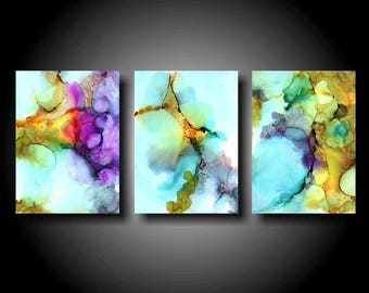 Large Abstract Painting Stretched Canvas Print 36 x 72 Triptych Wall Art Modern Painting Contemporary XL Huge Big Zen Colorful Painting Blue