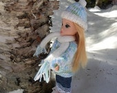 Matching Knitted Cardigan Sweater, Hat, and Scarf for OOAK Fashion Dolls