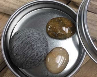 Maine Beach Stone Magnets in Tin