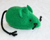 Catnip Mouse - Plush Cat Toy - Large Mouse Toy - Green