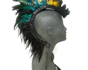 Warrior Feather Headpiece, Shaman Headdress, feather mohawk, festival headpiece, Burning man,: Renegade Icon Designs; Rara Avis Collection