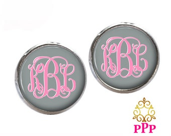 Monogram Stud Earrings, Gray Monogram Earrings, Monogram Jewelry, Personalized Jewelry,  (451)