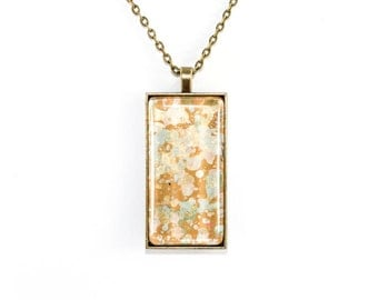 Splatter Painting Pendant - Abstract Art - Glass Brass Rectangle Necklace - Rose Gold Colorway