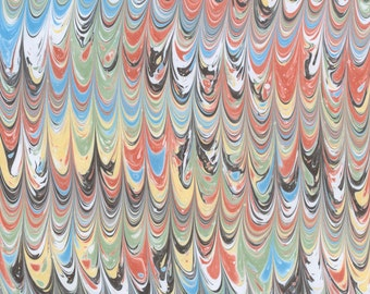 Marbled paper with a Mars Red, Yellow Ochre, Prussian Blue, Green, and Dark Grey Small Comb Pattern