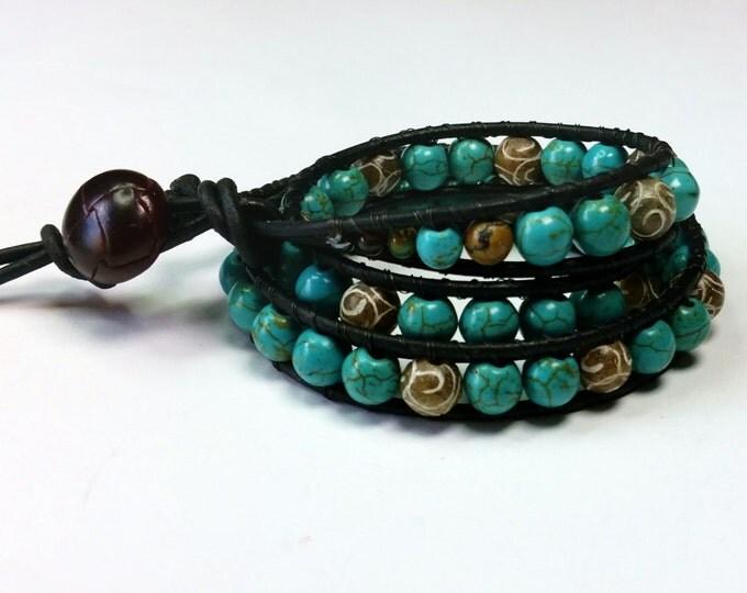 Turquoise Unisex Triple Wrap Bracelet