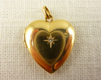 Antique Victorian 14K Gold Ballou Heart Locket with Diamond in Center