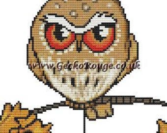 Pygmy Owl Cross Stitch, Anita Inverarity, Owl cross stitch kit, Counted Cross-Stitch, Grumpy Owl, Needlecraft Set with materials