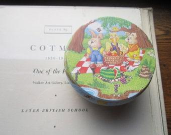 Vintage Small Tin Box, Round Tin Box , 1980's Illustrations, Gift Tin , Sweet Farm Animals Play Tin , Storage and Carry Tin , Silly Aquatic