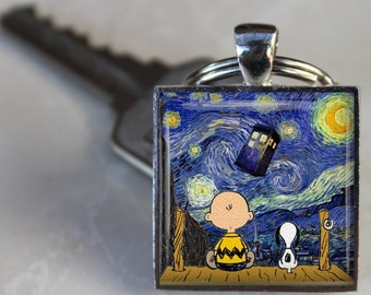 SNOOPY Dr. Who TARDIS Keychain // Van Gogh Starry Night // Altered Art Key Ring // Silver & Glass