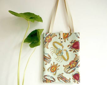 Leather Tote Bag / Laptop bag / shopper - Sea Kings Summer Crab Print