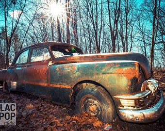Abandoned Old Car Fine Art Photograph on Metallic Paper