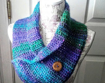 Button Scarf in Purple, Green and Blue, Crocheted Cowl Scarf with purple sequins and coconut shell button