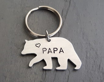 Papa Bear Key Chain // Bear Keychain // Hand Stamped // Custom // Gift for Him // Gift for Dad // Father's Day // New Dad