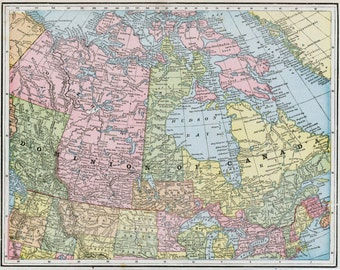 1888 Antique Map of the Dominion of Canada - Vintage Map of Canada