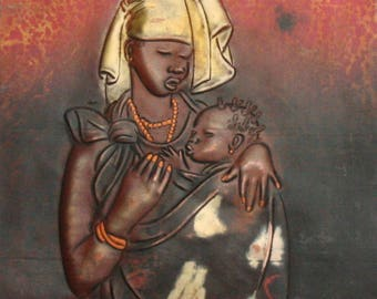 """African Copper Relief Art Tribal Mother and Child  12""""H X 8.25""""W Vintage Handcrafted in the Congo"""