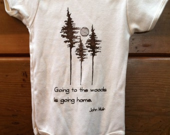 Organic Cotton Bodysuit for Babies, featuring an Inspirational Quote by John Muir