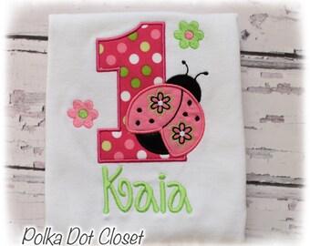 Baby Girls Hot pink Ladybug birthday bodysuit, ladybug bodysuit, ladybug shirt, first birthday outfit, hot pink birthday outfit