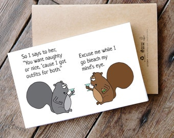 4 PACK - Printable Funny Squirrel Christmas Cards
