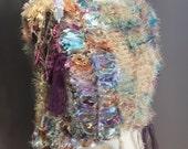 Hand knit poncho, Shaggy Chic, pastel handmade shoulder wrap, hand dued satin ribbon fiber poncho, knit scarves, lightweight poncho, boho