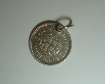 Coin charm silver 3D 1938 threepenny threepence Joey vintage