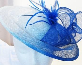 Blue ombre fascinator white royal blue derby hat Kentucky derby fascinator ASCOT16