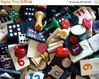 ONSALE Vintage Wooden and Plastic Game Pieces 2 Dozen