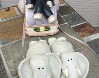 Hand sculpted ceramic elephant and carriage pulled by more elephants, 1989, art pottery elephant