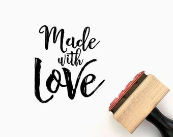 Custom Made with Love - Pre-Designed Rubber Stamp - Etsy Branding, Packaging, Party, Stickers, Tags, Wedding - H001