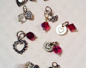 Heart Charms w/Swarovski Crystals