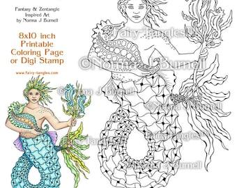 Kelp Merman Printable Coloring Pages by Norma J Burnell Mermaids to color Merman digital Coloring Book Pages Adult and Digital Coloring