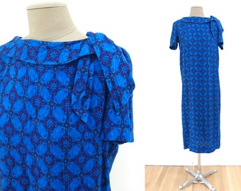 Vintage 60s Blue Geometric Print Midi Shift Dress // M Medium 1960s side metal zip