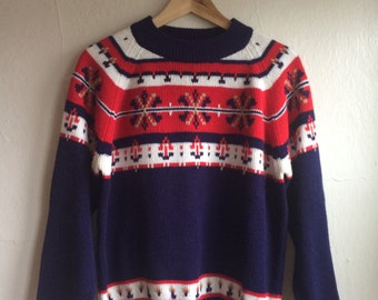 Classic Patterned Holiday Sweater in Navy, Red and White