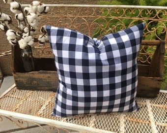 Indigo Blue and White  Buffalo Check Pillow Cover    Farmhouse / Lake House / Nautical / Beach / Contemporary Decor  Ready to Ship