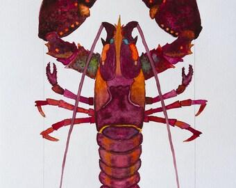 Colorful Red, Orange, Purple Coastal Beach Lobster Watercolor by Clair Hartmann Original
