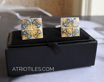 "Portugal Blue Gold 17th Century AZULEJO  Antique Tile Replica Cufflinks ""Italo-Flemish"""