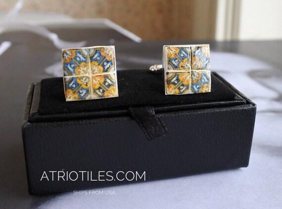 "Portugal Blue Gold 17th Century AZULEJO  Antique Tile Replica Cufflinks ""Italo-Flemish"""