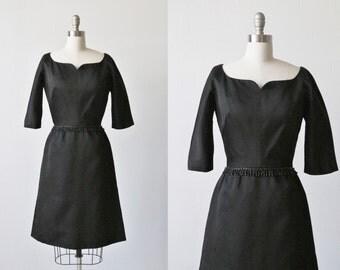 Vintage 1960s Samuel Winston Black Formal Cocktail Dress / Little Black Dress / Beaded