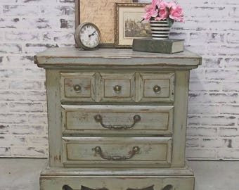 Nightstand, Weathered Gray Cottage Style - Chic NS501 Shabby Farmhouse Chic, Dresser, Nursery Furniture