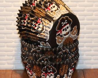 Pirate Skull & Cross Bones Heavy Duty Cupcake Liners (Qty 32) Pirate Cupcake Liners, Pirate Baking Cups, Cupcake Liners, Baking Cups