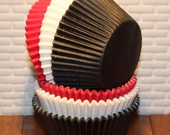 Red, White & Black Heavy Duty Cupcake Liners (Qty 30) Red Cupcake Liner, Black Cupcake Liners, White Cupcake Liners, Baking Cups, Muffin Cup