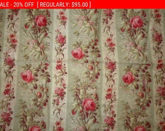 Gorgeous Antique French Cotton Pillow Fabric Roses