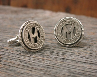 Transit Token Jewelry - Men's Cufflinks - Gift for Man - Authentic Midwest Transit Lines Company Token Cuff Links - Initial M