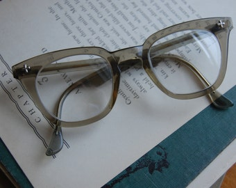 Vintage Bausch and Lomb 5 3/4 -48-24-Safety Glasses- Non prescription lenses. B &L Rockabilly Horn Rimmed Glasses Fram