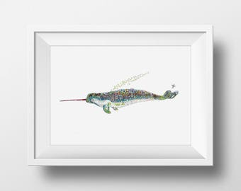 Narwhal Limited Edition Fine Art Print // Sealife print Arctic Animal Print Exotic Animal Print Home Decor // 13x19 11 x 14 8 x 10 5 x 7