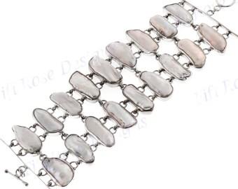 """2"""" Wide Heavy Handmade Freshwater Biwa Stick Pearl 925 Sterling Silver Bracelet"""