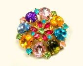 Multicolor Rhinestone Flower Brooch, Confetti Rainbows in This Metal Pin of Faceted Stones, 1960s Happy Pin