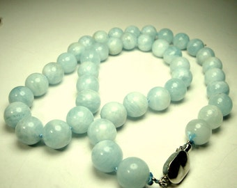 Chinese JADE Bead Necklace, Sea Foam Green Possibly Jade Beads, Natural Asian 10mm Round Stone, w Silver Catch, 1980s