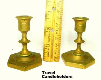 Pair of Brass TRAVEL Size Candlesticks, SABBATH Candleholders, 1970s India, Traditional Shabbas Candle Holders, Small
