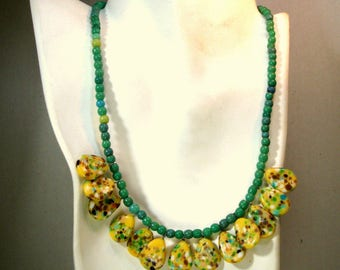 Czech Glass Green and Yellow Petal Necklace, OOAK by Rachelle Starr, Loved These Vintage Speckled Flower Petal Pieces, Had To Create